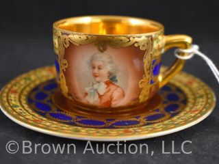 Mrkd  Czechoslovakia demitasse portrait cup and saucer set