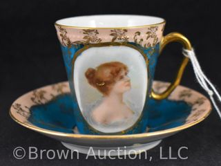 Mrkd  Austria beehive portrait cup and saucer set
