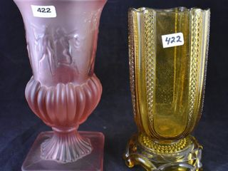 2  Colored glass vases