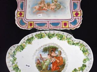 2  Hand painted porcelain dresser trays  1 mrkd  Vienna beehive