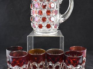 Red Block Ruby stained 7 pc  Water set