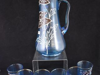 Victorian enameled floral blue glass water set