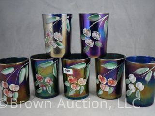 7  Northwood cobalt tumblers decorated with cherries