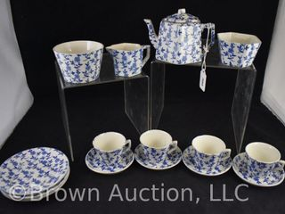 Mrkd  England blue and white floral 16 pc  demi tea set
