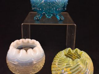 3  Opalescent glass rose bowls