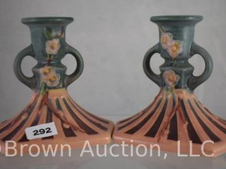 Pr  Roseville Cherry Blossom 1090 4  candle holders  pink