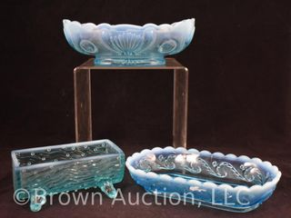 3  Blue opalescent glass relish trays