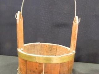 Primitive Wooden Firkin Bucket
