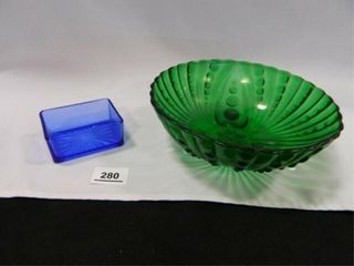 Green Glass Bowl  Cobalt Blue Dish