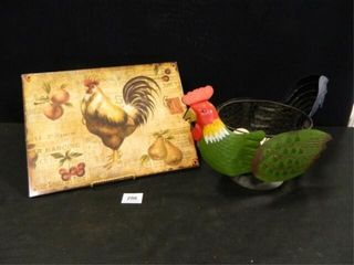 Rooster Metal Sign  Hen Basket