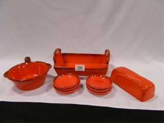 Metlox Poppytrail Red Orang Dishes