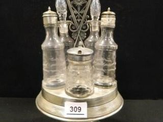 Condiment Set w Glass Cruets