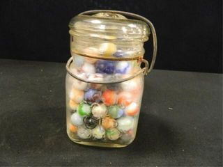 Atlas  Good luck  Jar w old Marbles