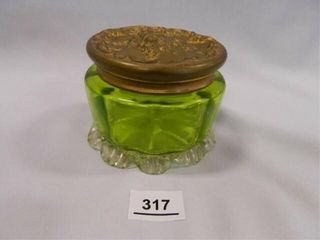 Vanity Jar  Metal lid  Green Glass