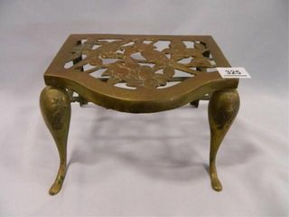 Brass Stool Step w Bird Design