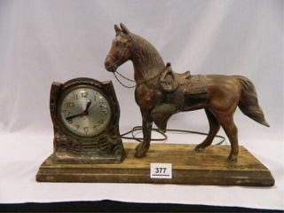 Bronze Horse w Horseshoe Clock