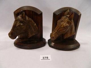 Wooden Horse Head Bookends