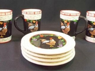 Chicken Plates  4  large Mugs  4