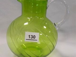 Green Glass Vintage Pitcher