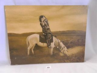 Native American On Horse Print