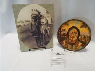Native American   on canvas  on platter