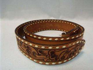 Tooled Cowhide Belt  38