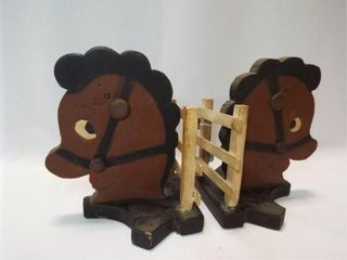 1940 s Folk Art Horse Wood Bookends