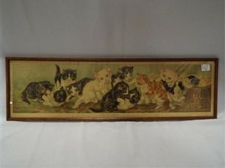 1901 A Yard of Kittens Print  Framed