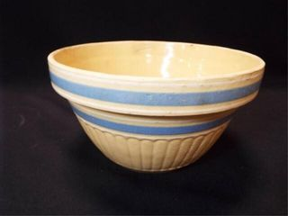 Yellow Ware Bowl  Blue Stripes  9 5
