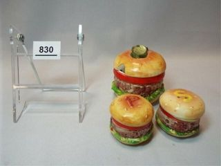 Enesco Hamburger S P  Condiment Set  3
