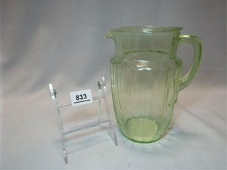 Green Vaseline Glass Pitcher  8 5