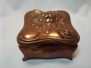 Copper Trinket Box  marked J B  3 5