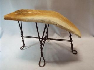 Cowhide Covered Shoe Stool