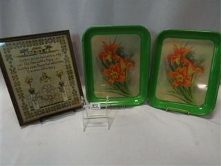 Handcrafted Art  lily Tin Trays  2