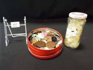 Jar and Tin of Buttons