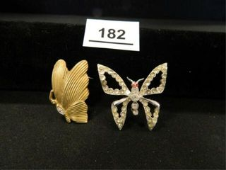 Cowan Butterfly Pin Goldtone