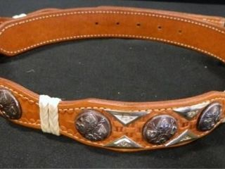 leather Belt w Silvertone Design