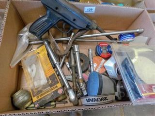 box of hand tools and pellet pistol