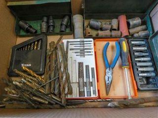 box of drill bits  sockets  swivels sockets