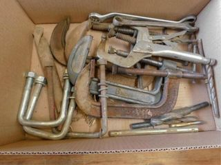 box of large C Clamps  vise grips