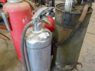 3 fire extinguishers  grease pump