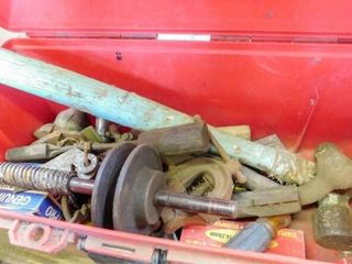 plastic tool box  hammer  older sodering gun