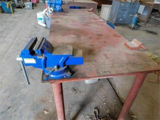 Steel work bench with two nice vises  74 5  long
