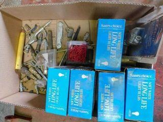 Box of light bulbs and air chucks