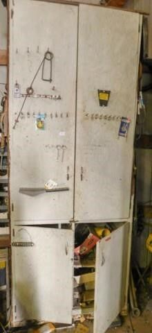 wood cabinet with welding rod and misc
