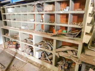 wood parts bin with lot of hardware and misc