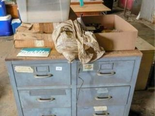 Metal 8 drawer cabinet with Gleaner combine parts