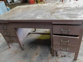 Wood desk work bench  60  long 34  wide  31  tall