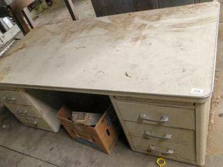 metal desk no legs  60  long  30  wide  23  tall