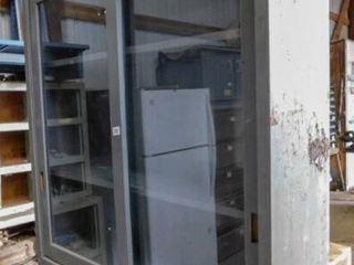 metal cabinet with 2  sliding doors